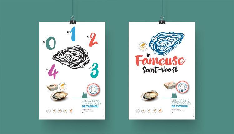 Affiches sur les numéros d'huîtres (n°0 à n°4) et sur la fameuse Saint-Vaast