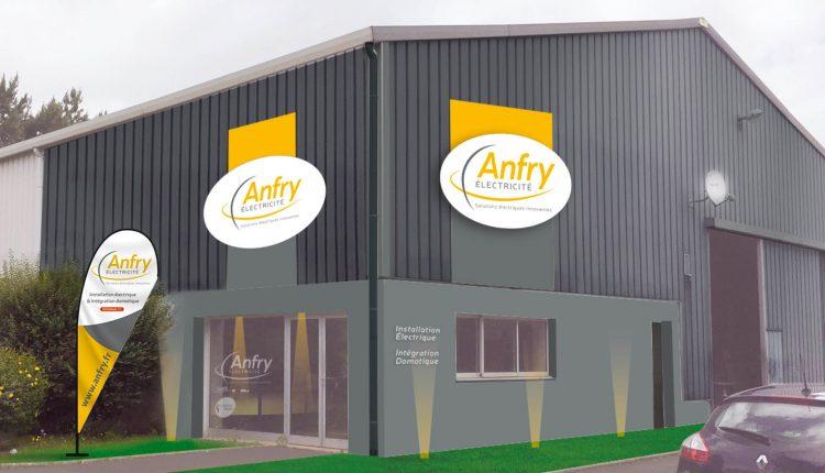 Simulation 3D d'enseigne sur une photo du bâtiment de la société Anfry électricité
