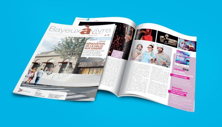 Couverture et intérieur d'un magazine Bayeux à vivre