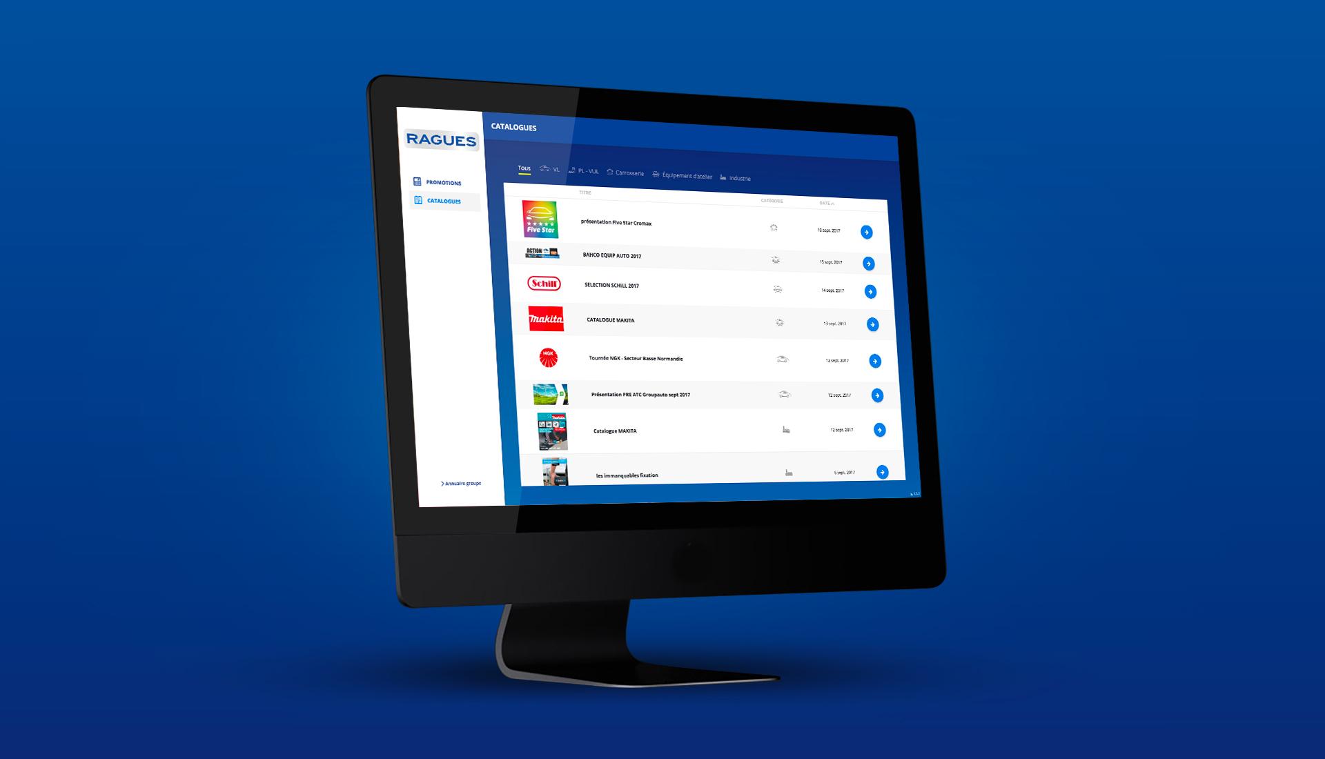 Interface Intranet Ragues sur un écran d'ordinateur
